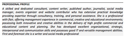 CV Writing CV Updates Do It Vivienne K Neale - Cv about myself section
