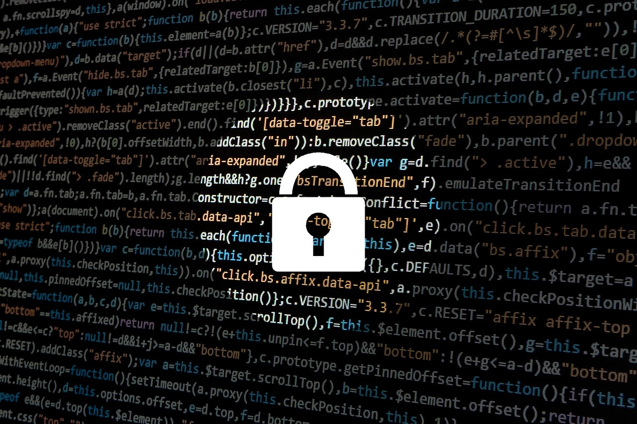 Business cyber security: Padlock and code