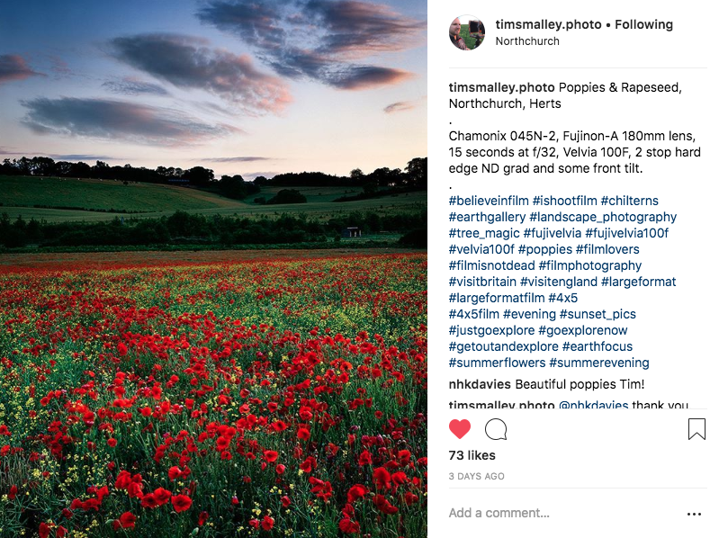 Tim Smalley publicises his photography on Instagram