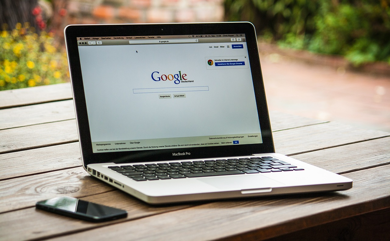 SEO: Computer with Google search on the screen