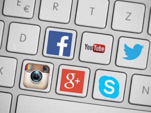 social media icons on a keyboard