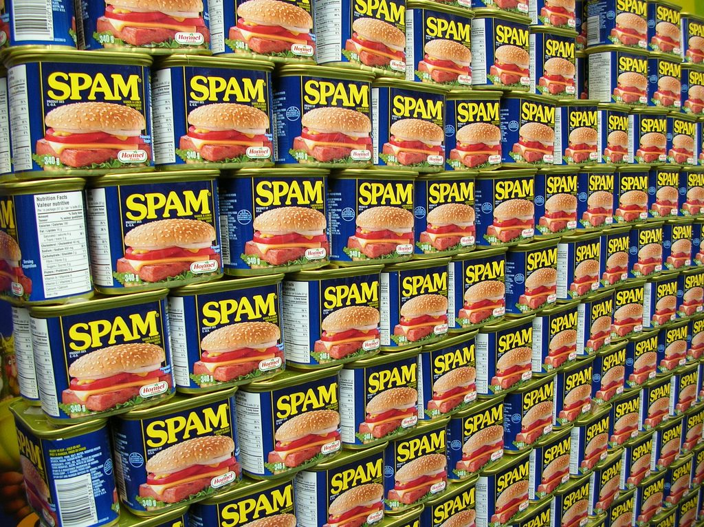 wall of spam cans